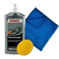 ZESTAW: Sonax wosk koloryzujący srebrny 500ml + Pad + mikrofibra