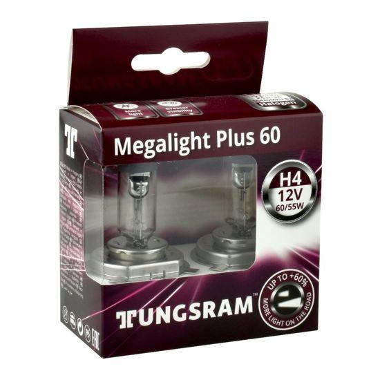 Żarówka samochodowa H4 Tungsram MegaLight Plus 60% - 2szt