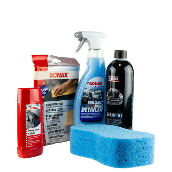 Zestaw kosmetyków Sonax Shine Detailer+ twardy wosk+ gąbka do mycia+ ircha+ szampon ADBL 1L